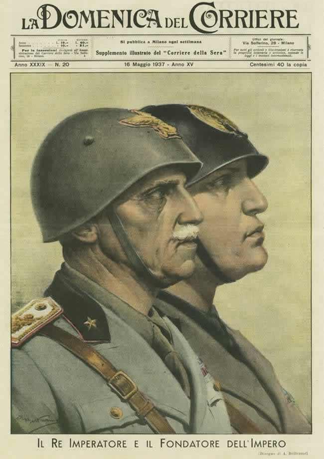 Император и основатель империи - Бенито Муссолини и король Италии Виктор Эммануил III - 1937 год