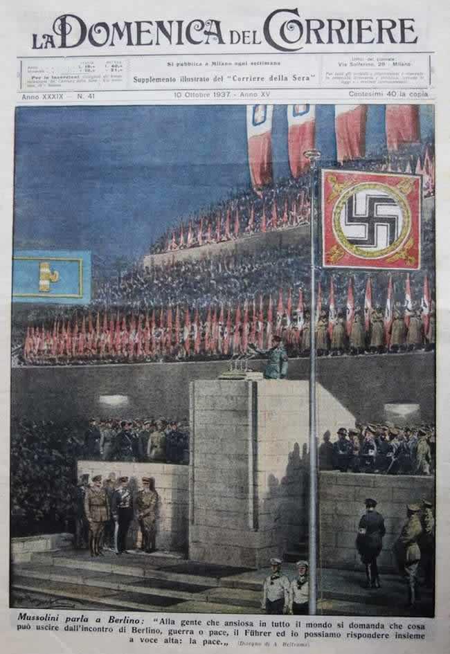 Муссолини произносит речь во время торжественного мероприятия в Берлине (1937 год)