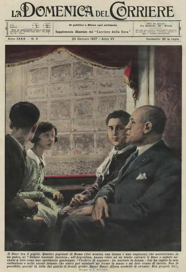 Дуче среди людей. Муссолини в театральной ложе рядом со специально приглашенными простыми жителями Рима (1937 год)