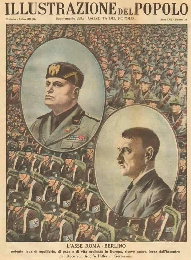 Ось Рим - Берлин, которая является мощный рычагом баланса, мира и упорядочения жизни в Европе, обрела еще большую силу в результате встречи Муссолини и Гитлера в Германии (1937 год)