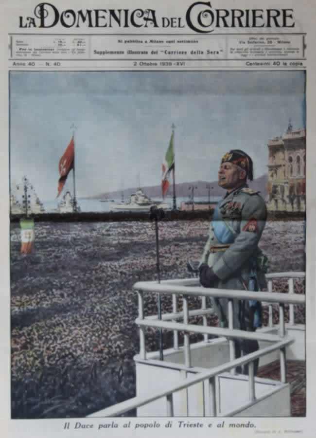 Дуче произносит речь в городе Триесте перед собравшимся народом (1938 год)