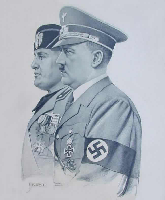 Гитлер и Муссолини во время совместного совещания в Риме в 1938 году