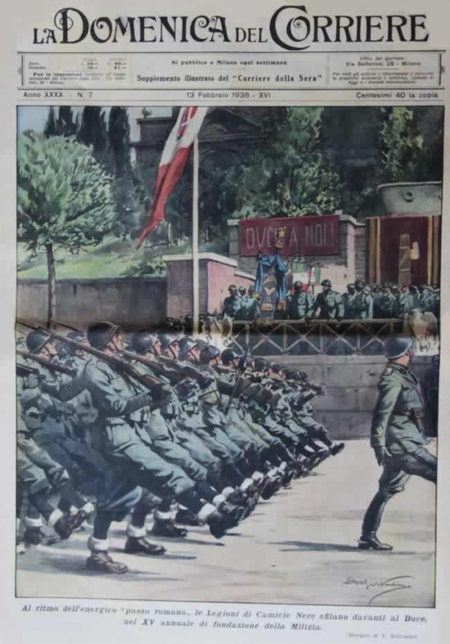 Легион чернорубашечников в день 15-й годовщины со дня создания их организации парадным строем проходит перед трибуной, на которой стоит Муссолини со своим окружением (1938 год)