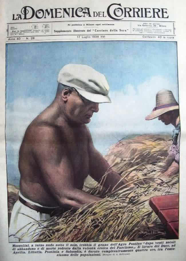Муссолини участвует сельскохозяйственных работах (1938 год)