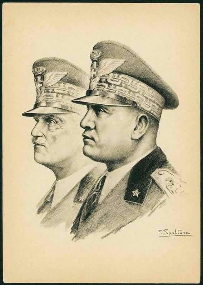 Муссолини и король Италии Виктор Эммануил III (1938 год)