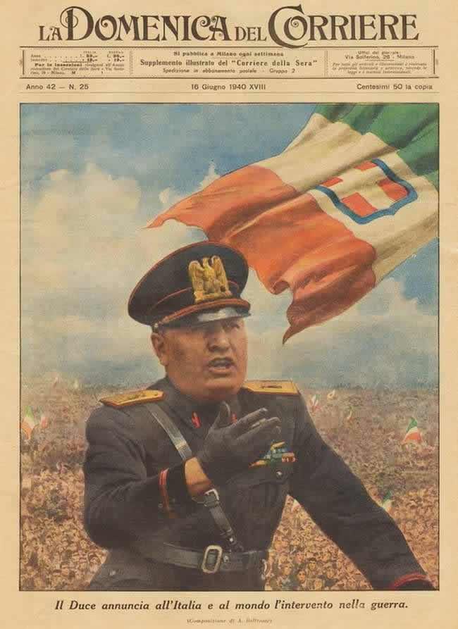 Муссолини объявляет о вступлении Италии во Вторую мировую войну (1940 год)