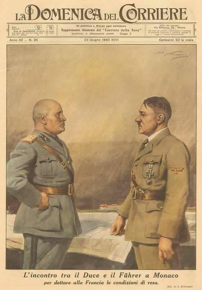 Встреча итальянского дуче и немецкого фюрера в Монако для достижения договоренностей по поводу начала войны с Францией (1940 год)