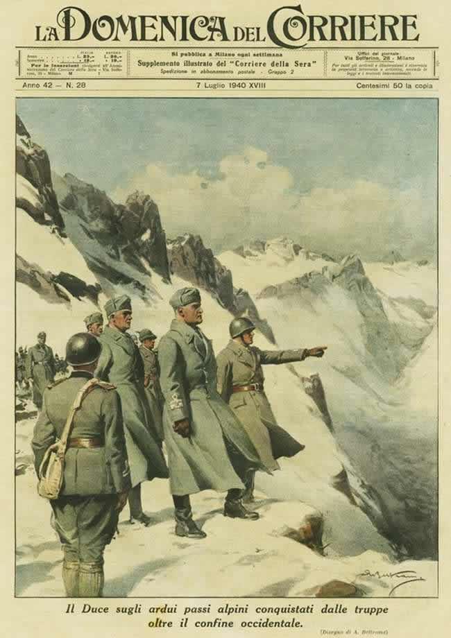 Муссолини на горном перевале через западную границу, захваченном итальянскими войсками (1940 год)