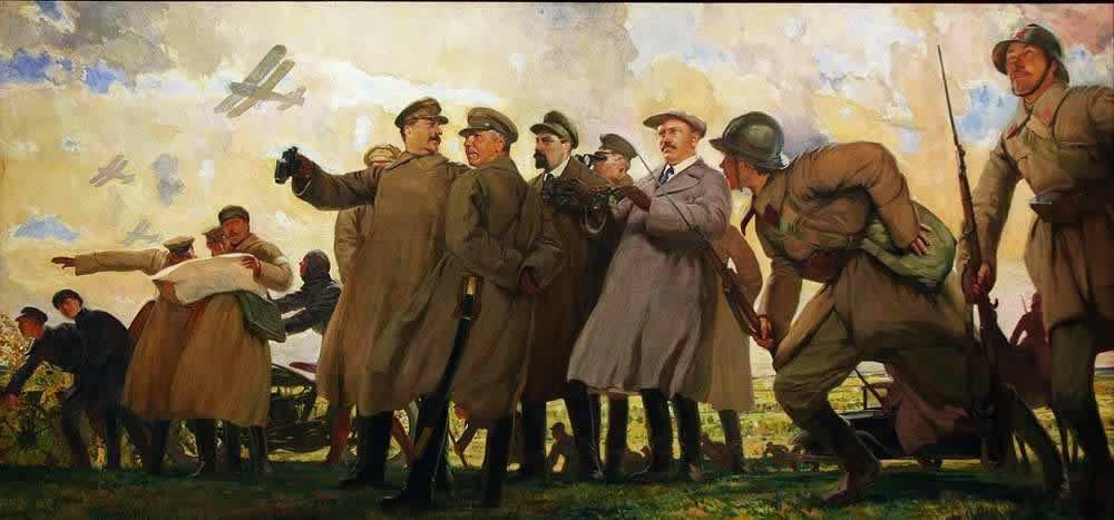 Сталин и члены политбюро на маневрах - Д. Кордовский (1933 год)