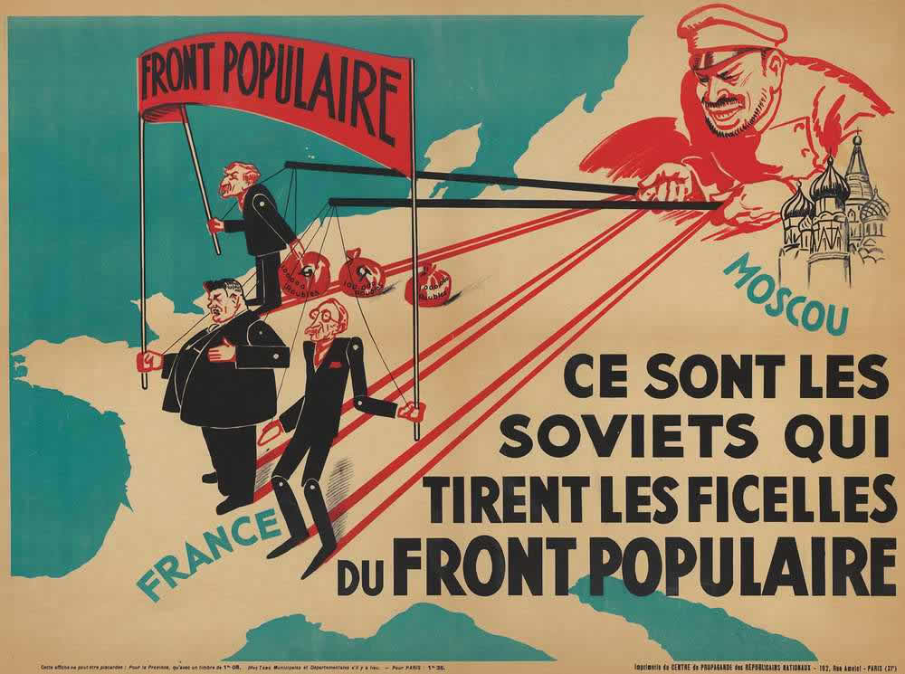 Советский кукловод, который занимается тем, что дергает за ниточки представителей французского Народного фронта (предвыборный плакат) -- Франция (1936 год)