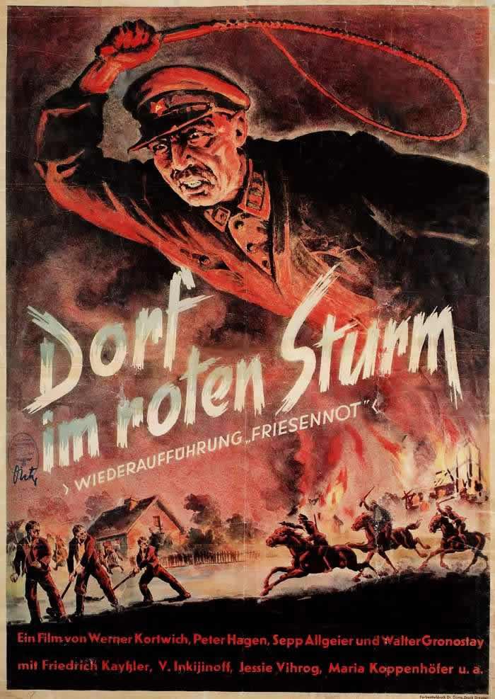 Красный шторм над деревней (рекламный плакат к фильму) - Германия (1941 год)