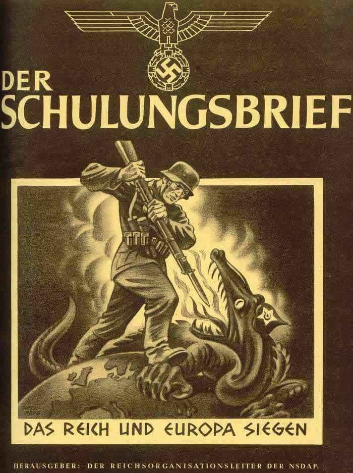 III рейх и Европа побеждают злобного большевистского дракона (обложка журнала Der Schulungsbrief) -- Германия (1942 год)