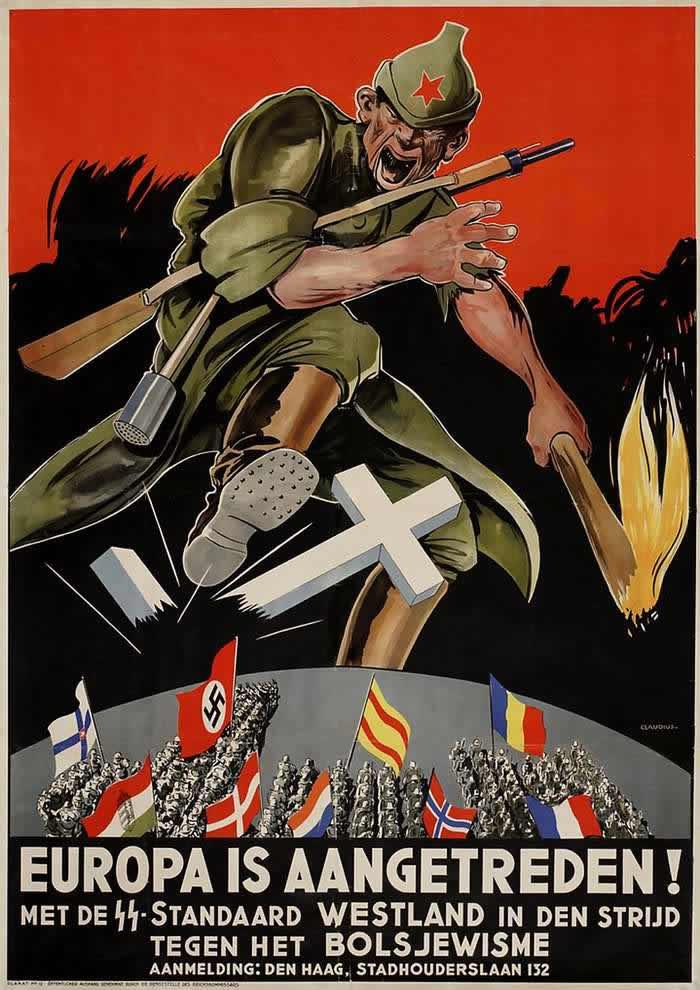 Европа начала совместный поход против большевизма - вступайте во фламандский легион СС -- Германия для территорий Нидерландов и Бельгии (1943 год)