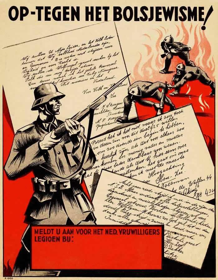 Мы против большевизма - вступайте добровольцами во фламандский легион СС -- Нидерланды (1943 год)