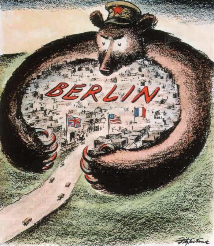 Советский медведь пытается задушить Западный Берлин -- США (1948 год)