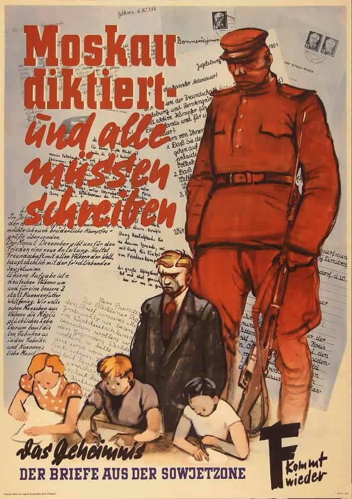 Москва продиктовала - и все должны подписать. Секрет жизнерадостного и оптимистичного содержания писем жителей из советской зоны (Восточной Германии) в западную часть страны -- ФРГ (1951 год)