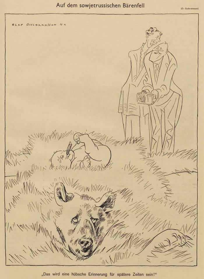 Британская семья рядом со шкурой советского медведя (Simplicissimus)