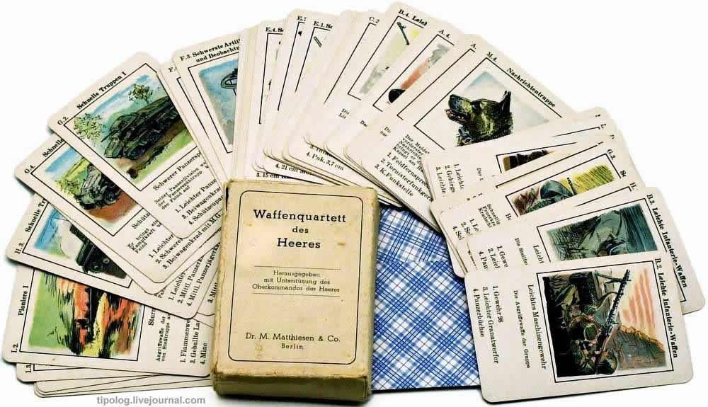Оружие немецкой армии на четверых - колода игральных карт (1930 год)