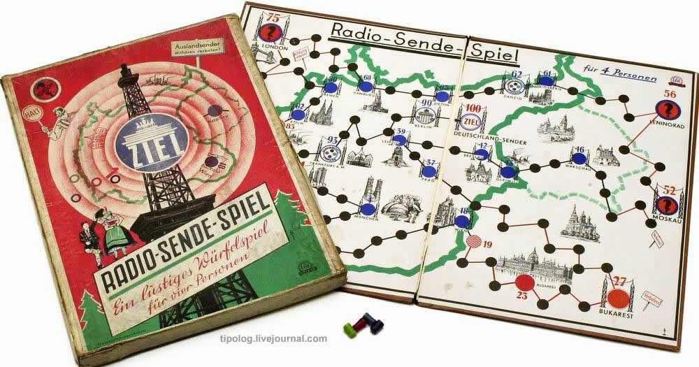 Передача радиосообщений между различными городами Европы - настольная игра (1940 год)