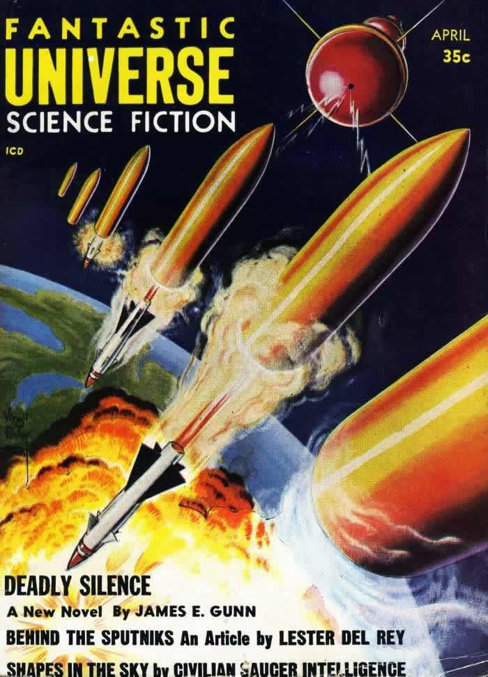 Мертвая тишина - обложка журнала - Fantastic Universe - апрель 1958 года