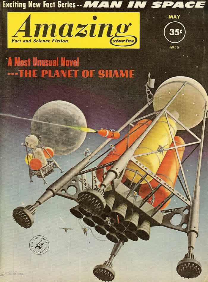 Человек в космосе - обложка журнала - Amazing Stories (Удивительные истории) - май 1961 года<