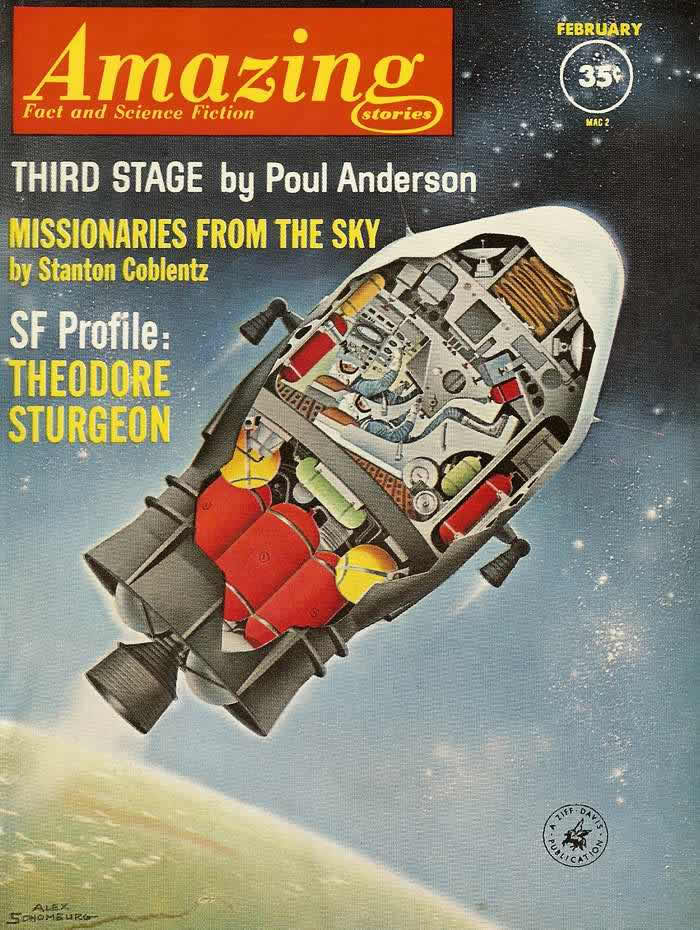 Третья ступень ракеты - обложка журнала - Amazing Stories - февраль 1962 года