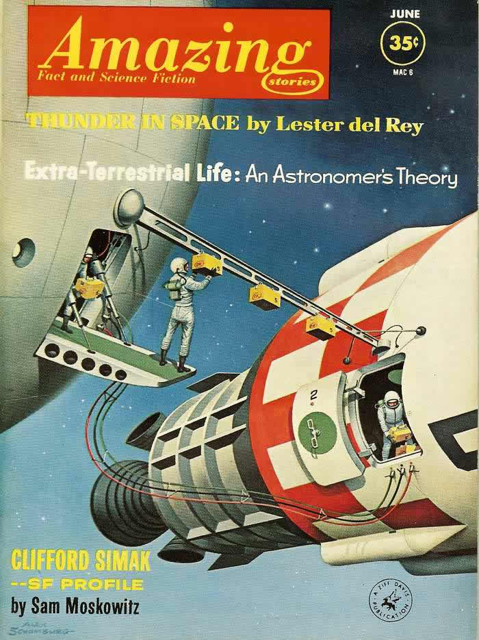 Грохот посреди космоса - обложка журнала - Amazing Stories - июнь 1962 года