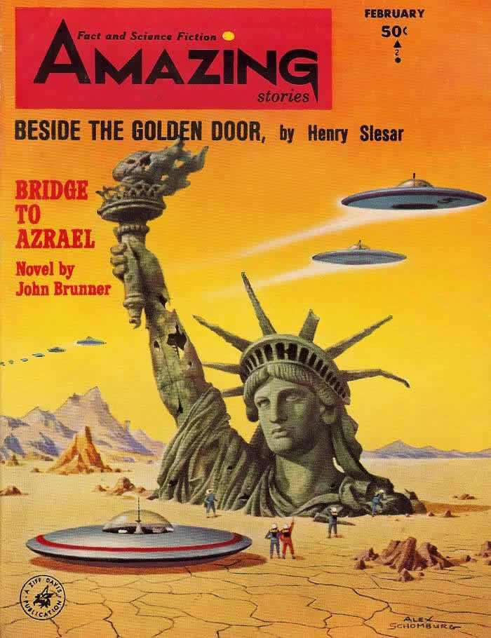Мост в другой мир - обложка журнала - Amazing Stories - февраль 1964 года