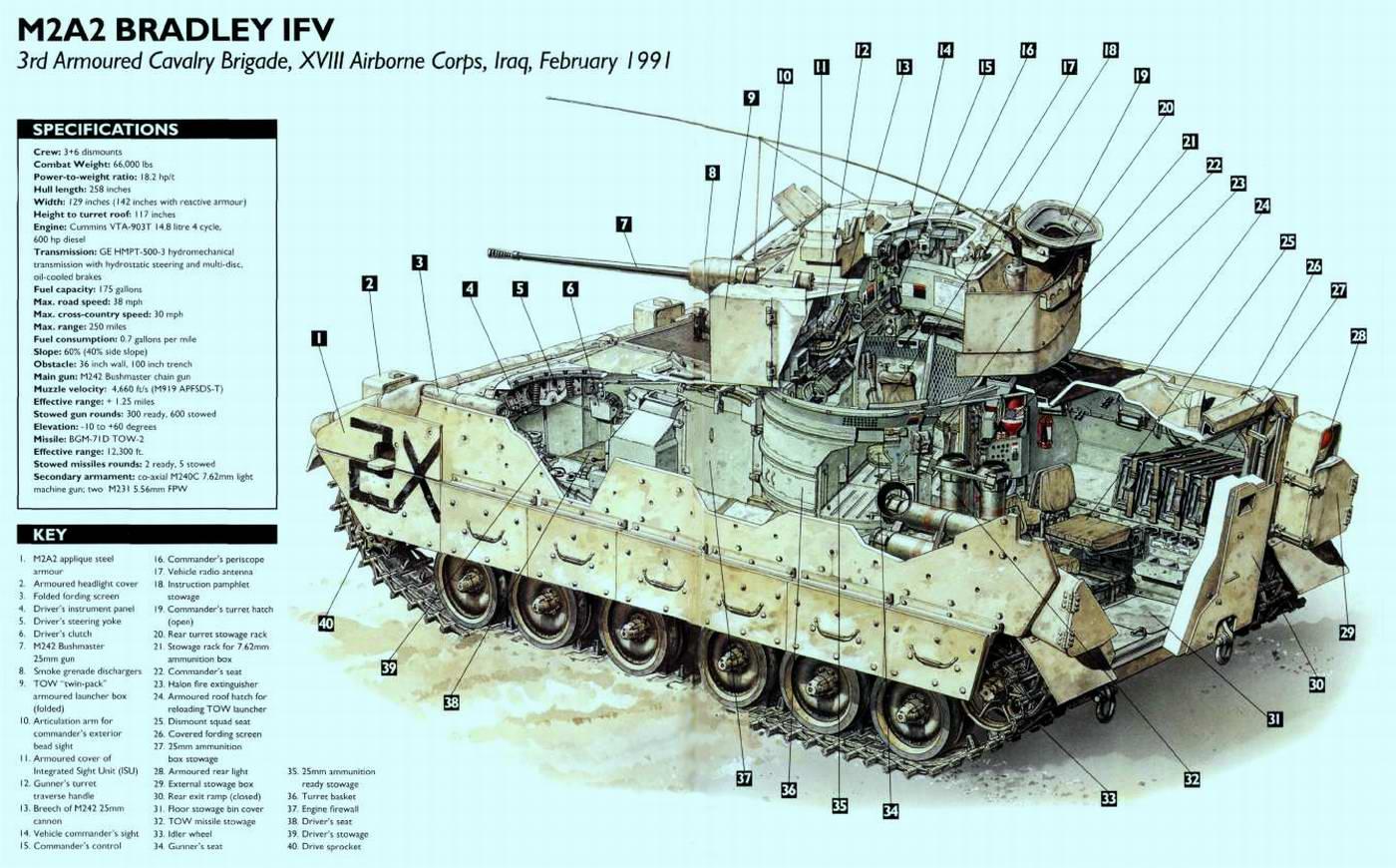 M2A2 Bradley (с 1981 года по настоящее время) - боевая машина пехоты (США)