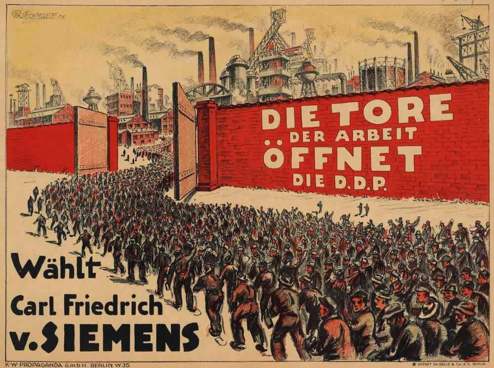 Немецкая демократическая партия создаст условия для обеспечения трудовой занятости широких слоев населения (1924 год)