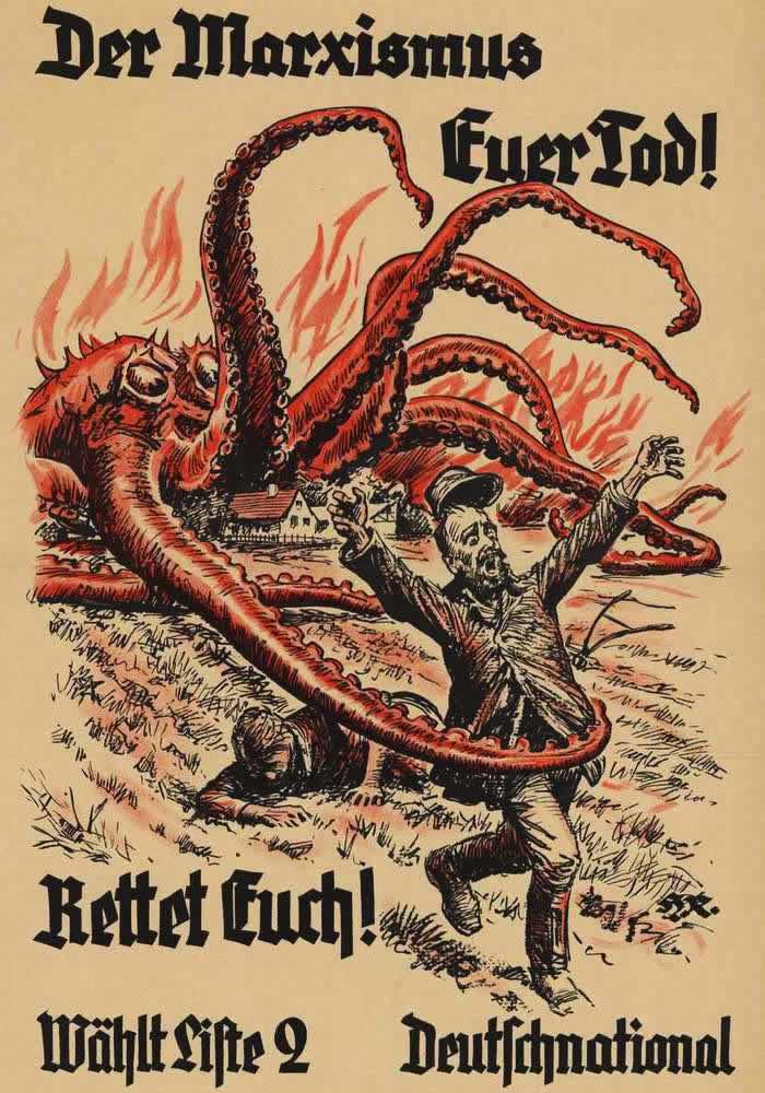Марксизм угрожает вам смертью - спасайтесь и голосуйте за Немецкую национальную народную партию (1930 год)