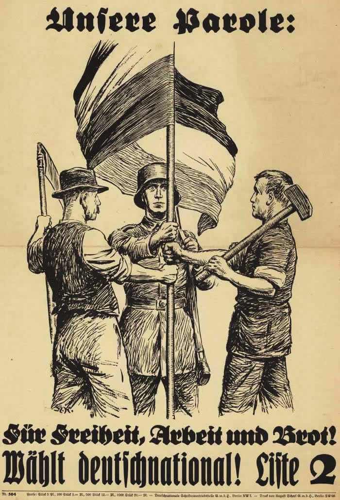 Наш девиз - За свободу, работу и хлеб! Голосуйте за Немецкую национальную народную партию (1930 год)