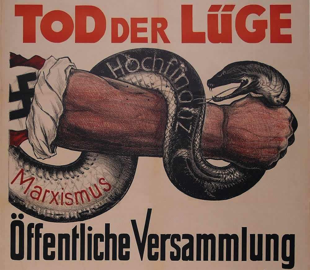 Задушим лживую марксистскую гадину (верхняя часть плаката-объявления об открытом собрании членов Немецкой национал-социалистической рабочей партии) (1931 год)