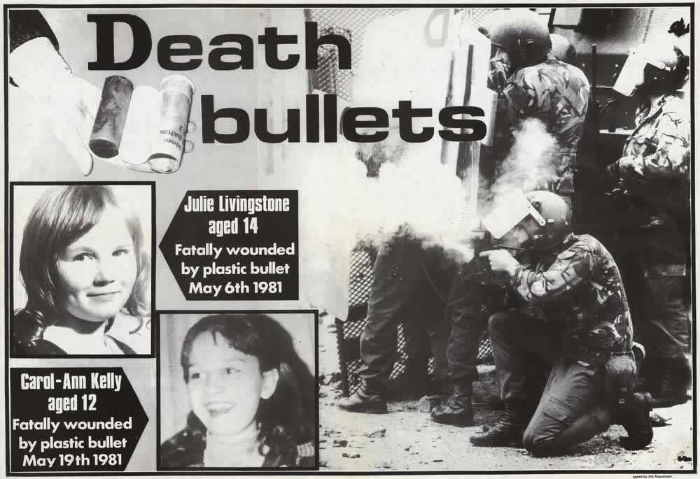 Смертельные боеприпасы - британские солдаты и портреты 2-х ирландских девочек, убитых в результате применения пластиковых пуль (начало 1980-х годов)