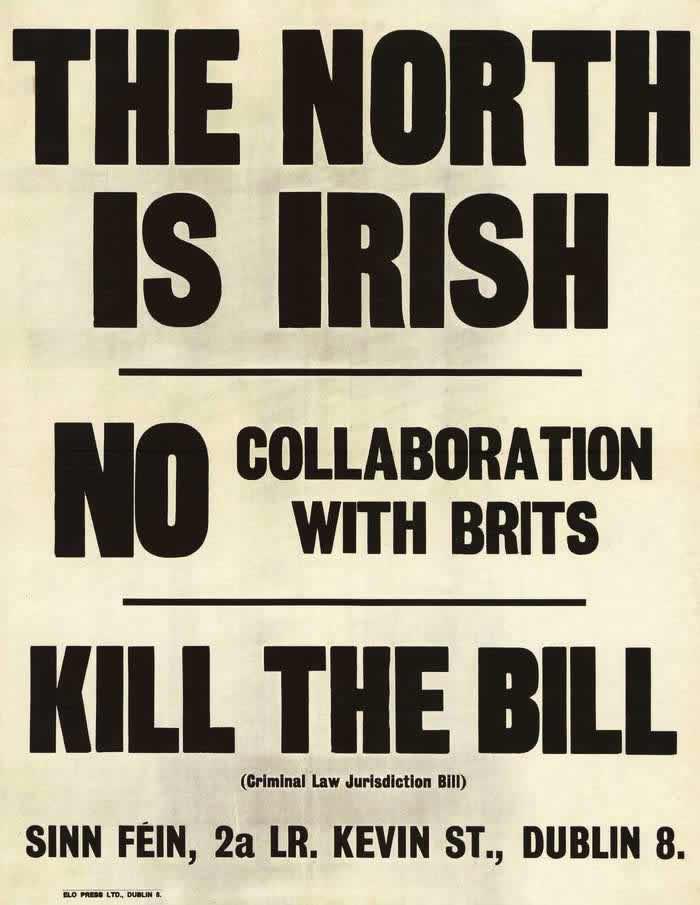 Север является ирландским. Не вступайте в сотрудничество с британцами. Провалите выдвинутый законопроект (начало 1980-х годов)
