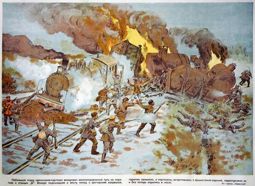 Небольшой отряд смельчаков-партизан минировал железнодорожный путь ...