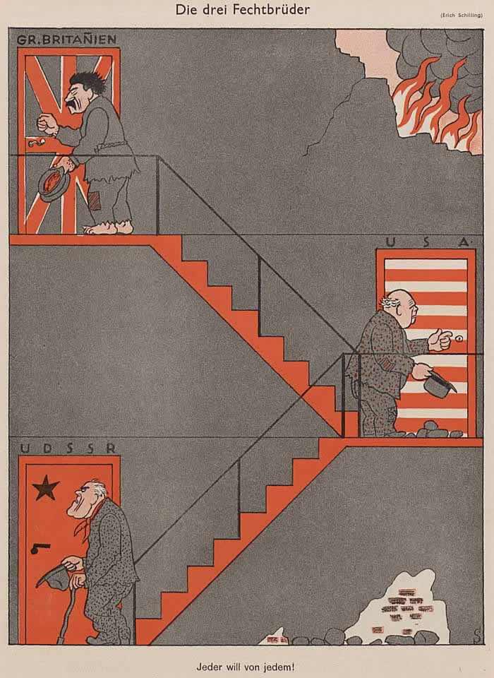 Три брата-попрошайки - Сталин, Рузвельт и Черчилль (Simplicissimus)