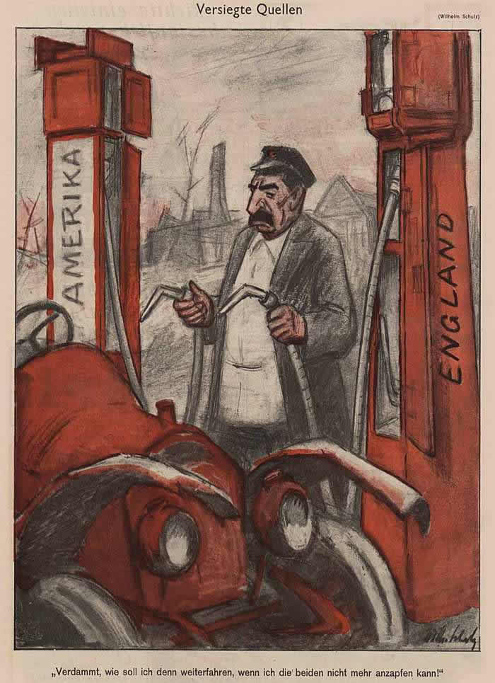 Иссякший источник - Сталин у бензоколонки (Simplicissimus)