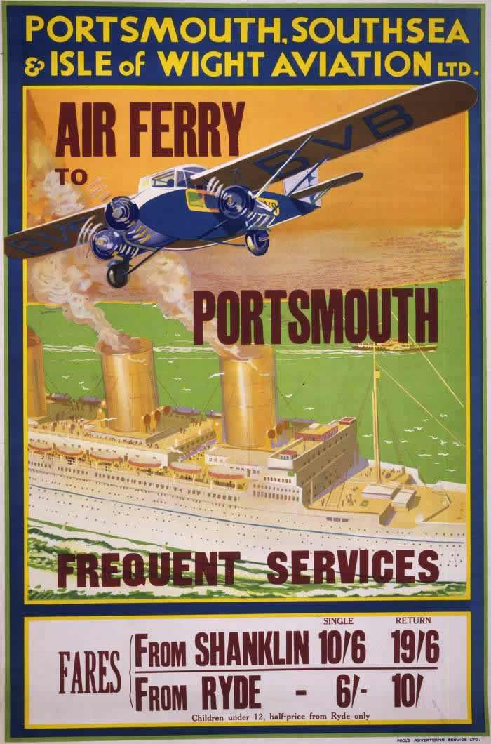 Авиакомпания P.S.& I.O.W.A. -- Воздушное такси до Портсмута (из окрестных приморских курортов) 1932 год