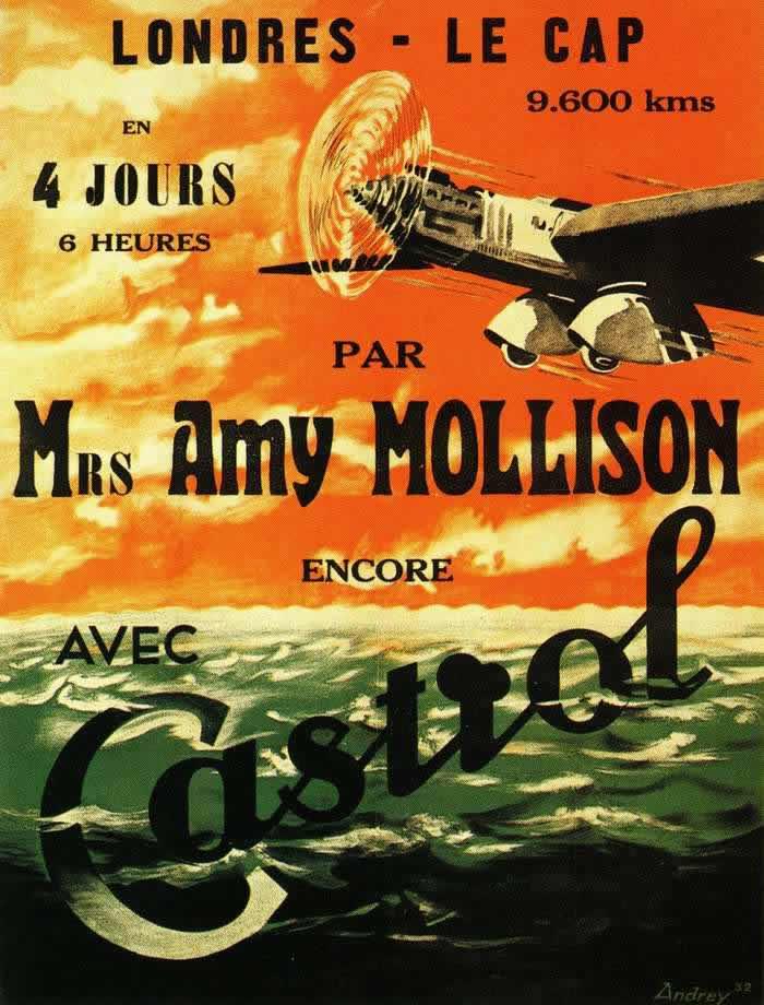 Реклама моторного масла Castrol (на французском языке) -- Лондон - Кейптаун - 9600 километров за 4 дня и 6 часов (1932 год)