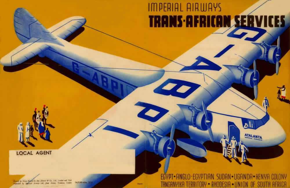 Авиакомпания Imperial Airways -- Трансафриканские авиаперевозки (Египет - Судан - Уганда - Кения - Танганьика -  Родезия - Южно-Африканский Союз) 1932 год