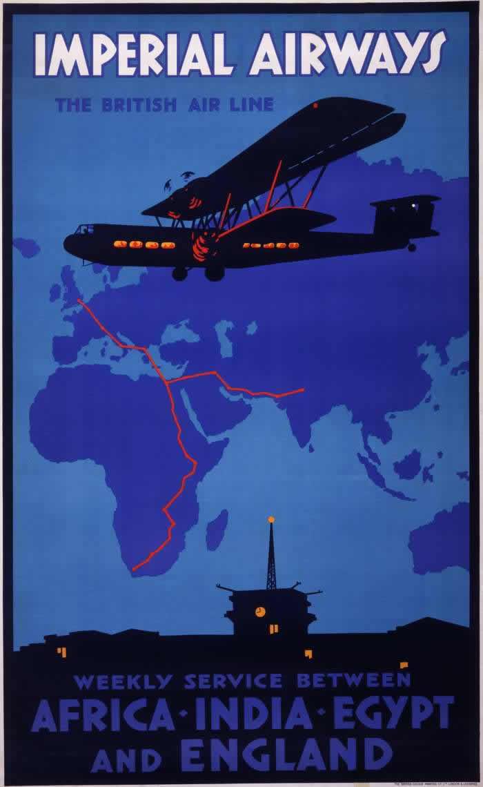 Авиакомпания Imperial Airways -- авиационные пассажирские перевозки между Африкой, Индией, Египтом и Лондоном каждую неделю (1932 год)