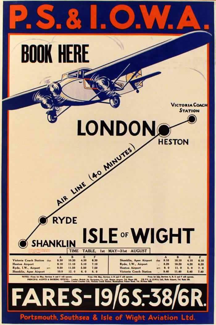 Авиакомпания P.S.& I.O.W.A. -- Воздушное такси из Лондона до окрестных приморских курортов (1934 год)
