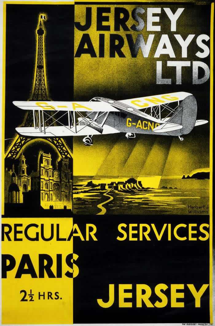 Авиакомпания Jersey Airways -- Регулярное авиасообщение Париж - Джерси - время в пути 2 часа 30 минут (1934 год)