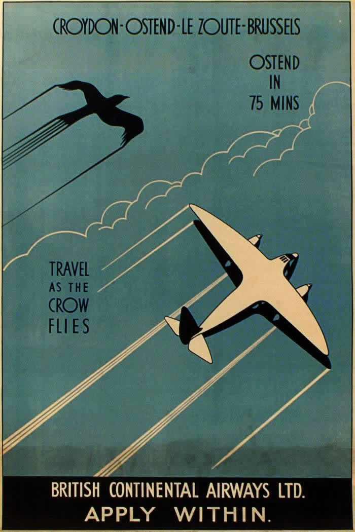 Авиакомпания British Continental Airways -- Лондон - Остенде - Кнокке-Хейст - Брюссель - Путешествие по прямой линии (1935 год)