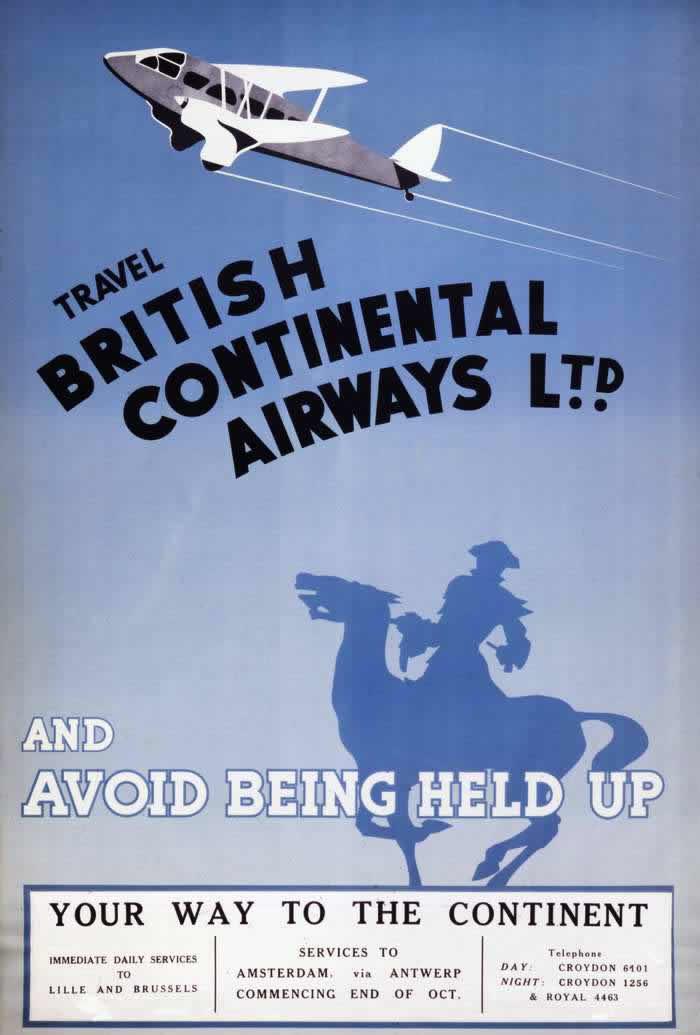 Путешествуйте с авиакомпанией British Continental Airways (1935 год)