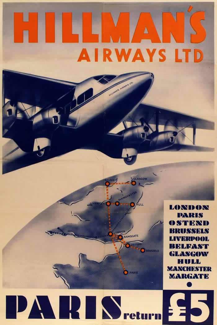 Авиакомпания Hillman's Airways - В Париж туда и обратно за 5 фунтов стерлингов (1935 год)