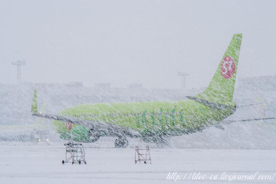 03. Снег пошел еще сильнее!  S7 после приземления, рулит на посадку.