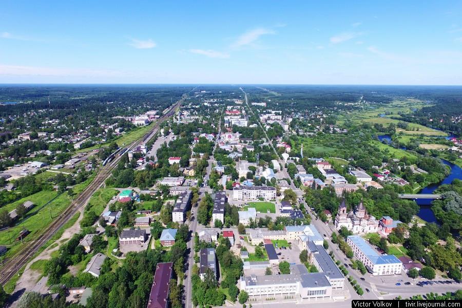 Город Луга с высоты