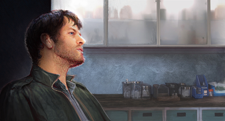 Castiel in profile against a background of glass-fronted cabinets